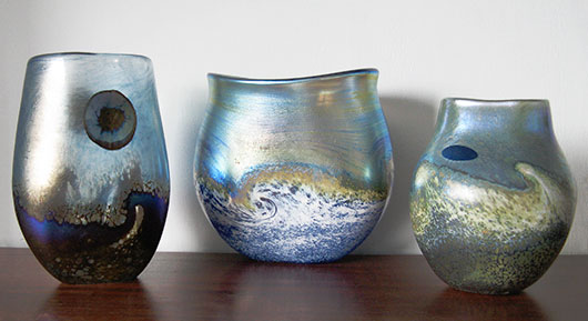 A selection of Golden Seascape vases, inspired by the Cornish landscape.