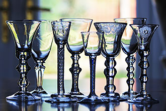 A group of 18th Century drinking glasses from a previously unseen private collection.