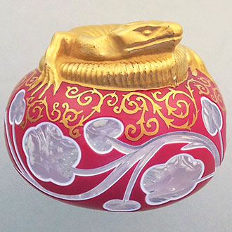 Modern St. Louis paperweight, decorated with a gilded Lizard. C. 1980