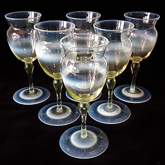 A set of 6 straw opal wine glasses, designed by