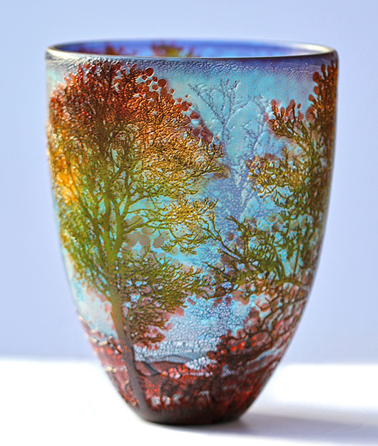 'All About Autumn' (New England)' - A 'Translucent Colour Cup-cased Cameo' vase by contemporary glass artist Jonathan Harris.